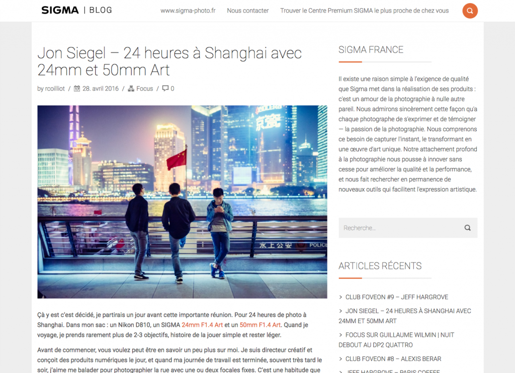Jon Siegel – 24 heures à Shanghai avec 24mm et 50mm Art – SIGMA France